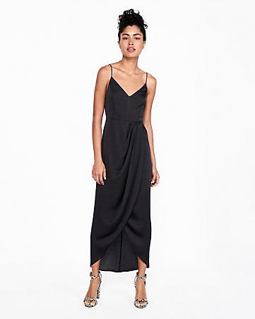 Maxi slip black dress with silver open toe heels