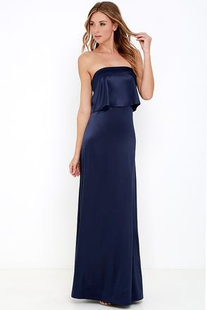 deep blue strapless two-piece maxi satin dress made of imitation art