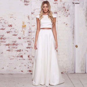 white two-piece flowing maxi satin dress