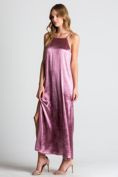 silver maxi halter dress with light pink open toe heels