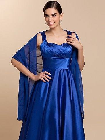royal blue fit and flared midi silk dress with semi-transparent scarf
