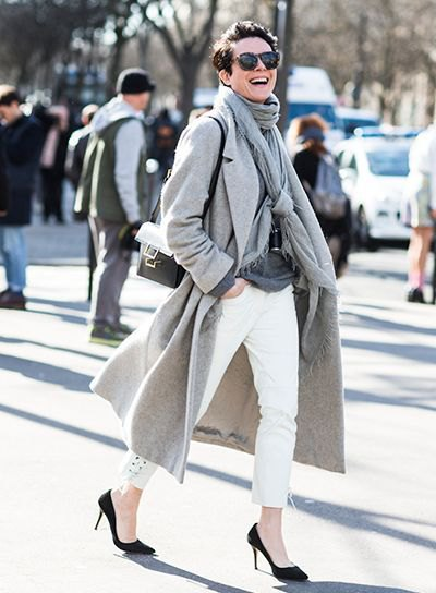 gray longline wool coat with pashmina scarf and white ankle jeans