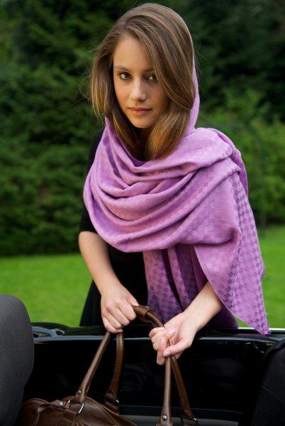 gray pashmina scarf with black mini shift dress