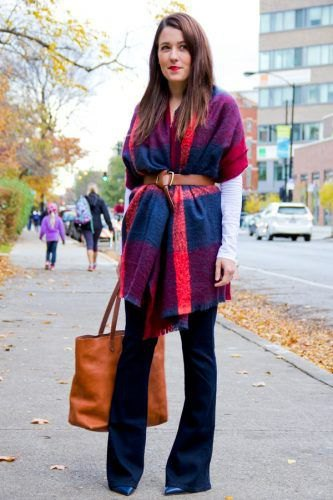 blue-orange pashmina blanket scarf with belt, black blouse and flared jeans