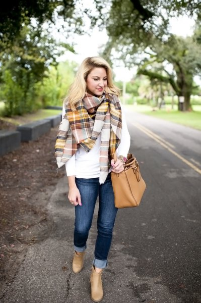 white long-sleeved T-shirt with gold and gray checkered scarf