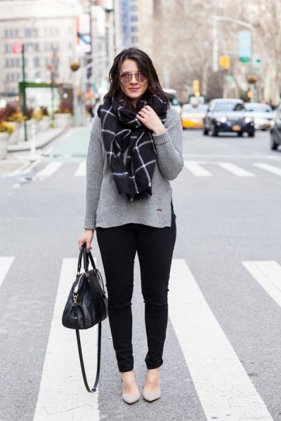 gray sweater with checkered scarf and light pink flats