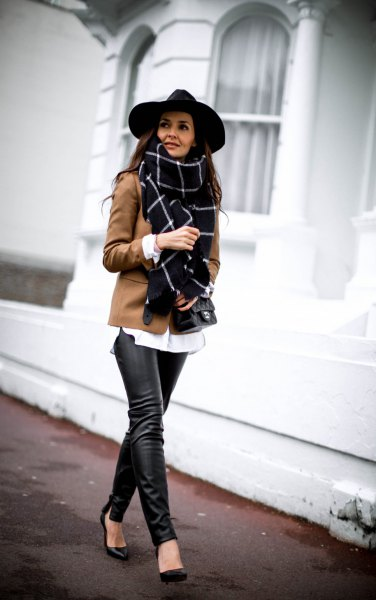 blushing pink wool blazer with black and white checked scarf