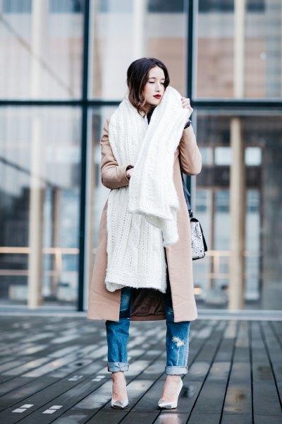 blushing pink longline wool coat with white long scarf