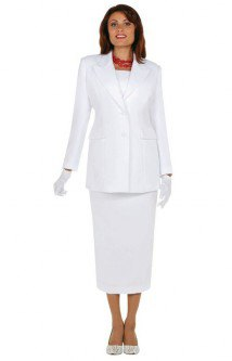 white church suit jacket with middle skirt and gloves