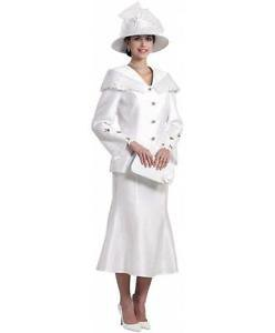 white church skirt suit with hat and clutch
