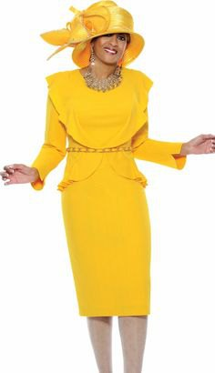 Lemon-yellow church suit with midi skirt and golden hat