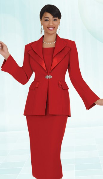 red church suit jacket with midi dress