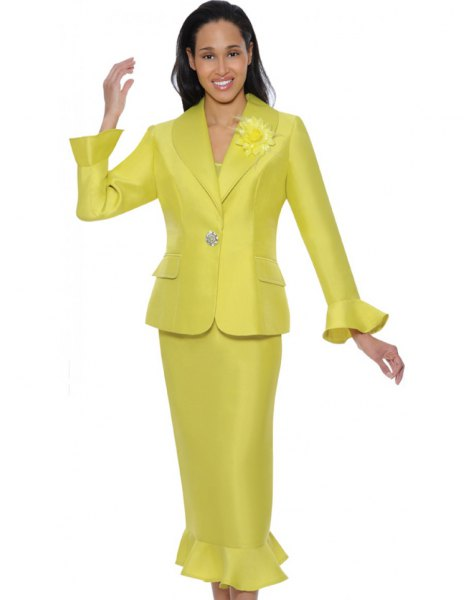 golden church suit jacket with matching midi skirt with frilled hem