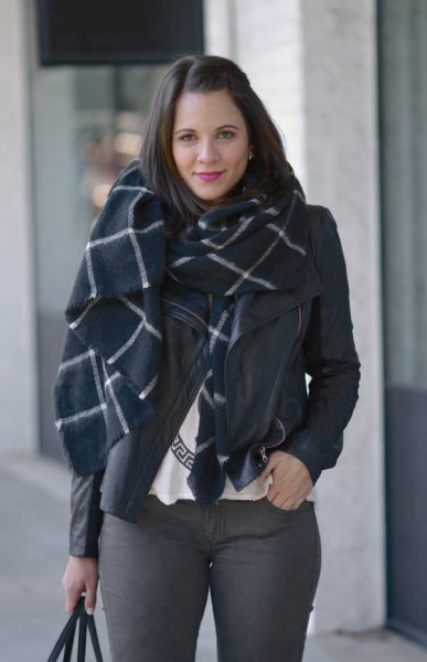 black and white checkered wool scarf with gray skinny jeans