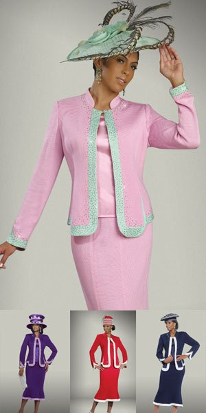 Skirt suit with white and gray church hat