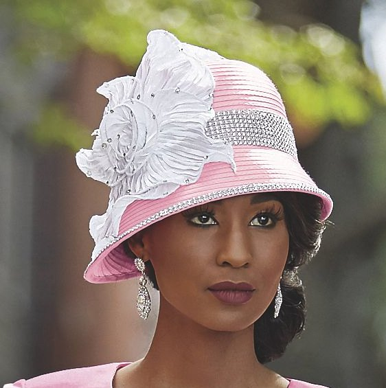 white bucket of church hat with matching skirt suit