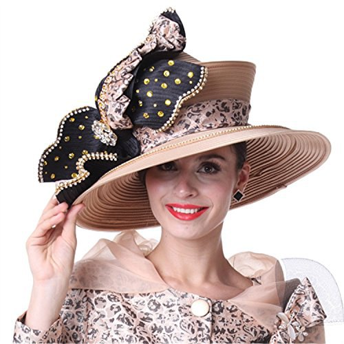 nude and black church hat with printed coat dress