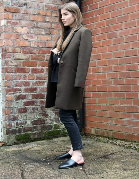 gray long wool coat with black ankle jeans