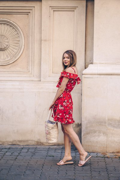 Off shoulder, red mini dress with floral pattern and metallic slippers