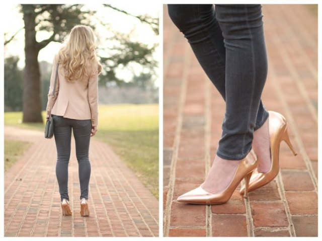 pale pink blazer with gray skinny jeans