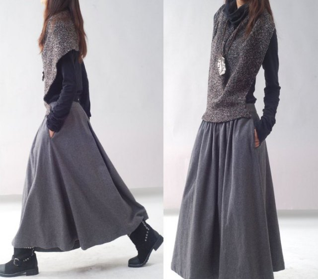gray scarf with black blouse and maxi linen skirt