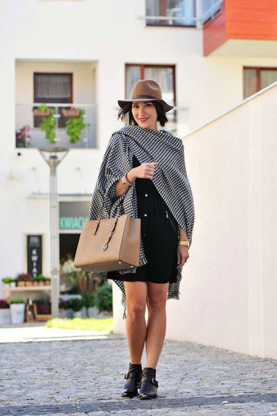 black and white checkered scarf with mini shift dress