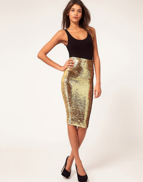 black tank top with a scoop neck and a form-fitting midi sequin skirt