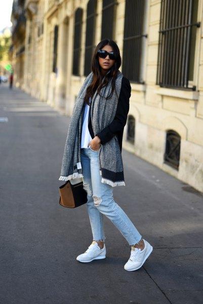 black longline cardigan with gray, oversized scarf and boyfriend jeans