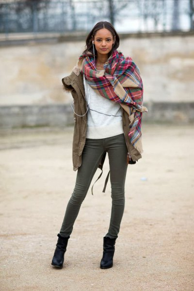 red and blush checkered scarf with camel military jacket