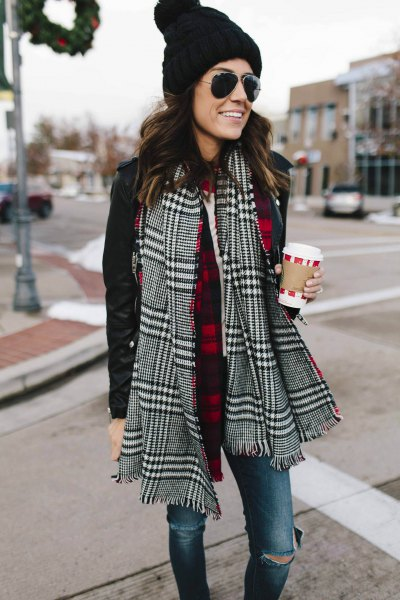 black and white checked scarf with casual jacket and knitted hat