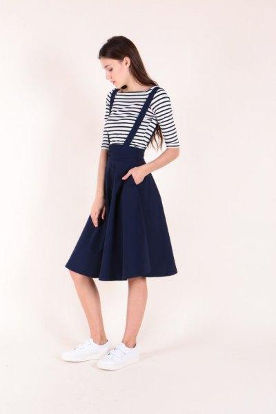 black and white striped t-shirt with midi straps skater skirt