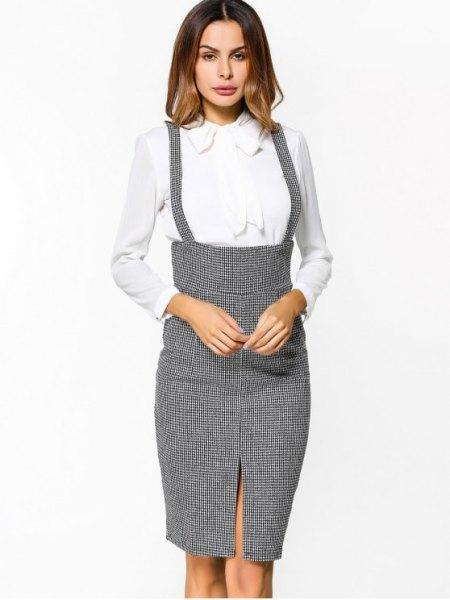 gray tweed suspender midi bodycon skirt with white shirt