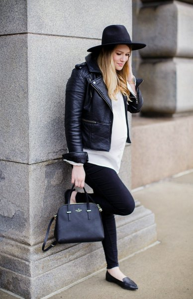 black leather hat with biker jacket and white shirt with buttons