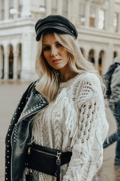 white, rough knitted sweater with moto rivet jacket and leather painter hat