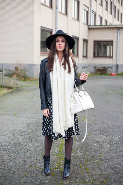 black leather hat with biker jacket and long white scarf