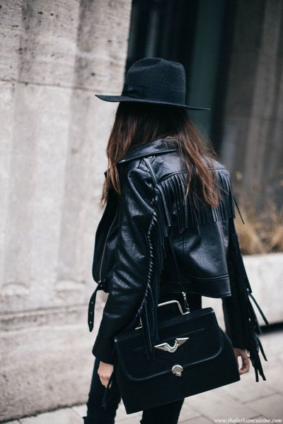 black hat with leather jacket and skinny jeans