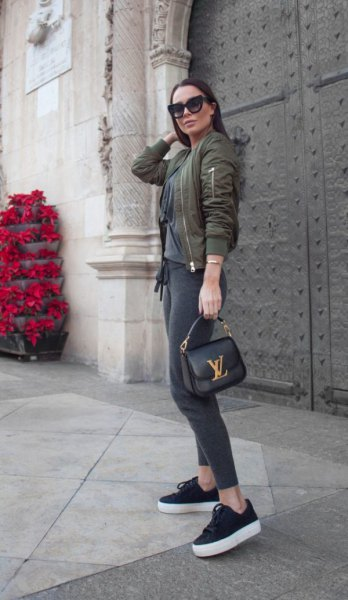 gray denim jacket with leggings and canvas wedge sneakers