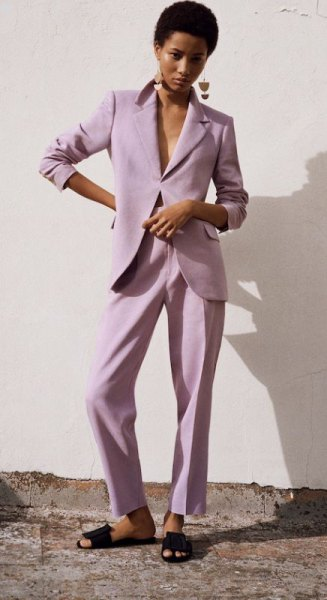 light purple suit jacket and matching trousers with a relaxed fit