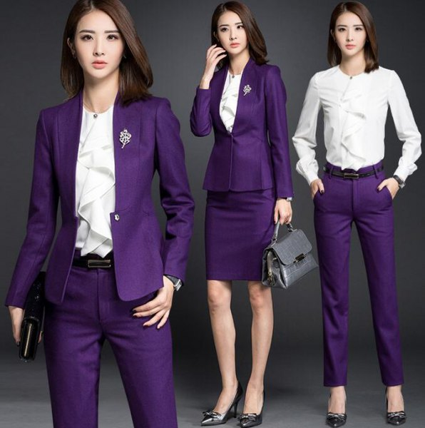 purple blazer jacket with white frilled blouse