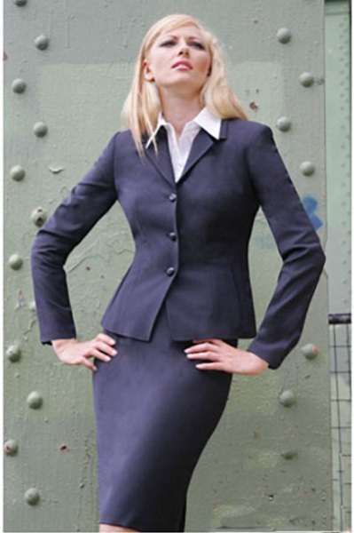 slim-cut skirt suit with white shirt with buttons