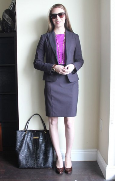 blue cotton top with purple skirt suit