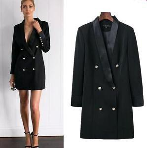black double breasted suit jacket dress with open toe heels with ankle strap