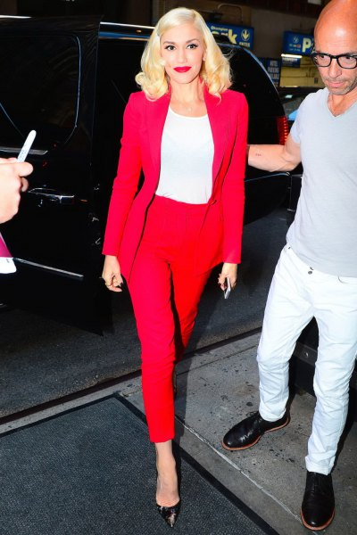 red blazer with matching ankle pants and white t-shirt with long sleeves