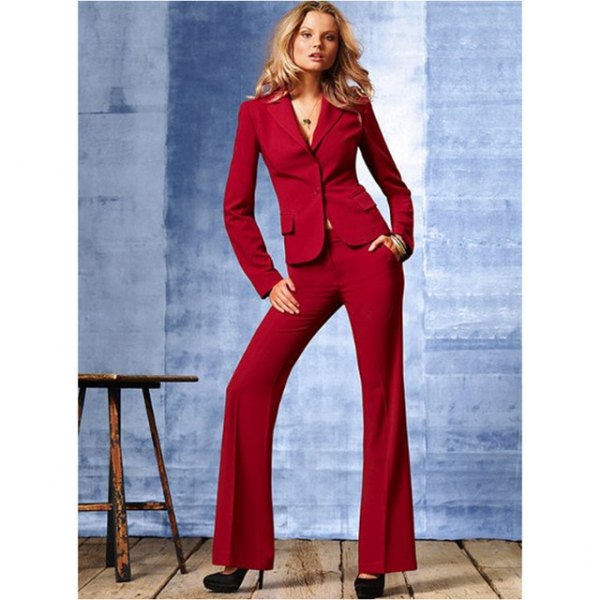 Dark red slim fit suit with flared pants