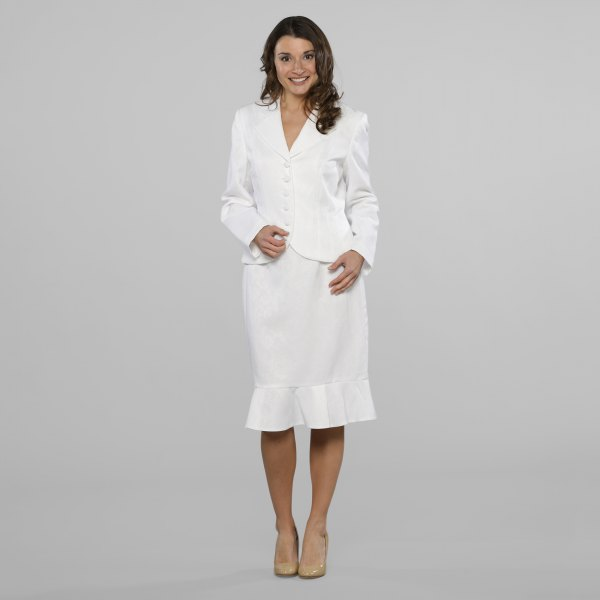 white blazer jacket with matching midi dress with frilled hem and pink heels