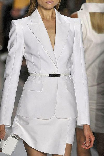 white suit with clutch and open toe heels
