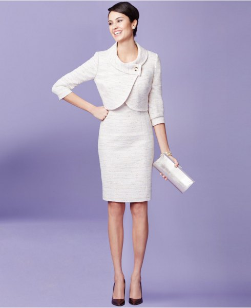 white mini wrap jacket with knee-length, form-fitting dress