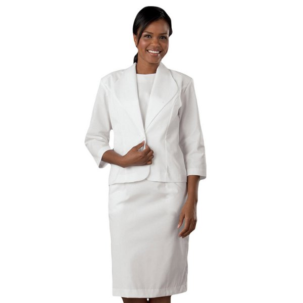 white suit with white crew-neck t-shirt