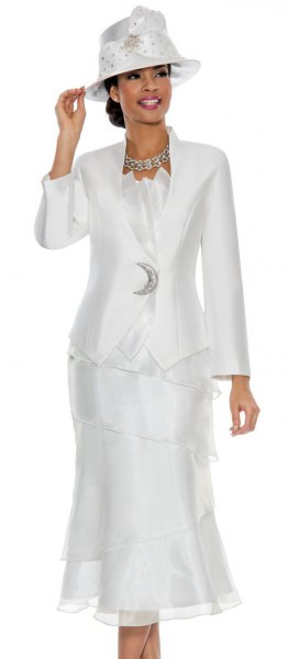 white suit jacket with tulle midi dress and felt hat