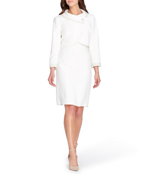 Slim fit wrap blazer with knee-length shift dress and pink heels